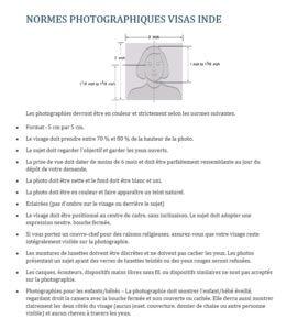 Normes photos d'identité visas Inde
