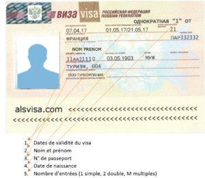exemple visa russie